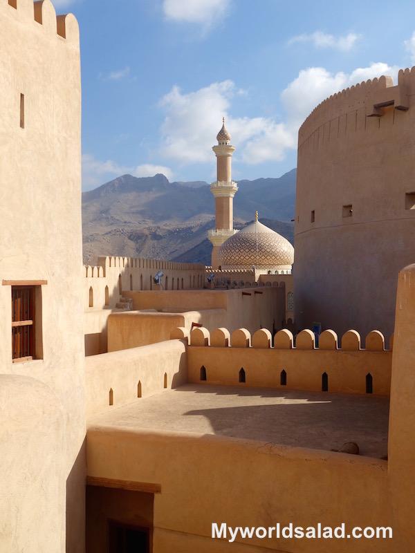Blick vom Fort Nizwa auf die Moschee